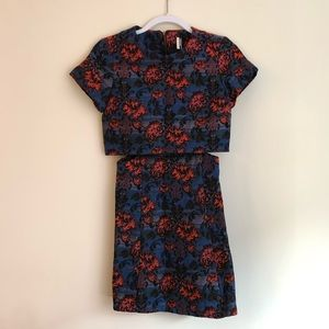 Topshop Floral Brocade Cutout Dress in Size 2